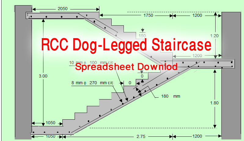 Rcc Dog Legged Staircase Spreadsheet Free Download Civil Draw