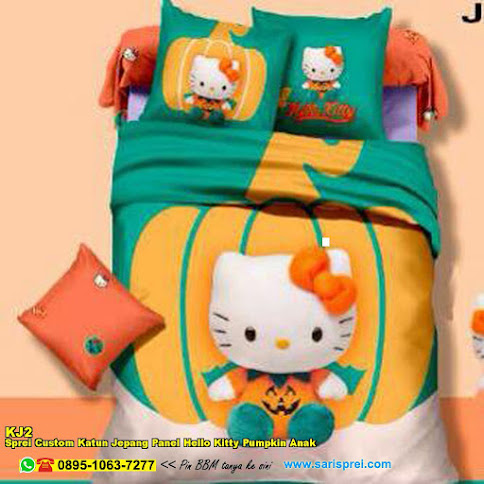 Sprei Custom Katun Jepang Panel Hello Kitty Pumpkin Anak