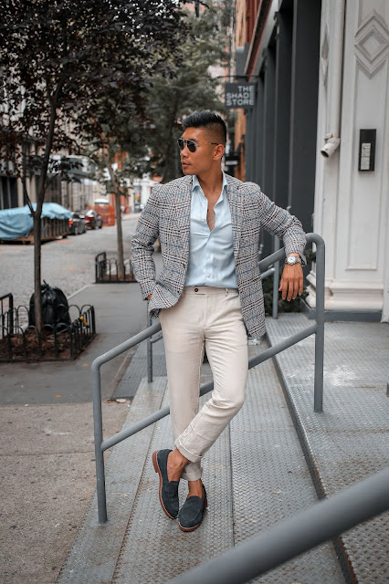 Leo Chan wearing Suit Supply Summer Blazer| Asian Model, Asian Man