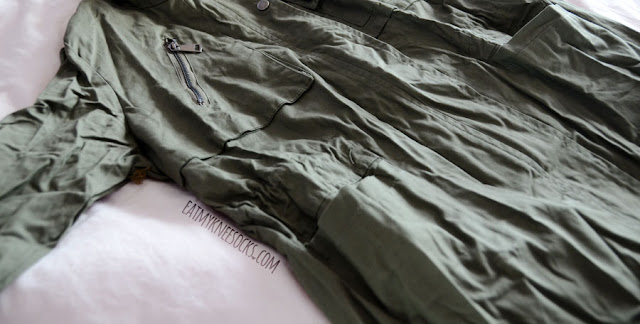 Army-green miltary-style patch embroidered oversized jacket coat from Romwe