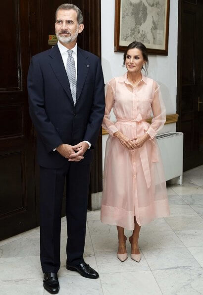 Queen Letizia wore a new semi-sheer organza midi dress by Maje. Maje Roane organza shirt dress. Steve Madden suede pumps