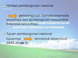 Sebutkan dan Jelaskan Hakikat Pembangunan Nasional Indonesia