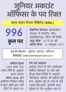 BSNL JAO Recruitment 2017, 996 Junior Accounts Officer
