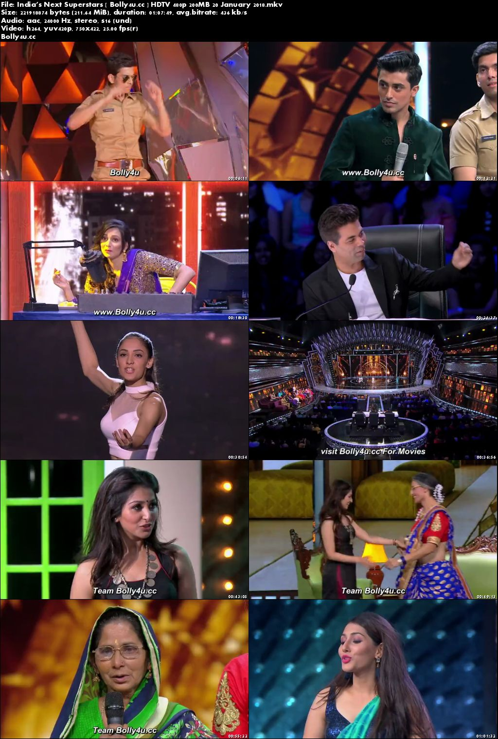 Indias Next Superstars HDTV 480p 200MB 20 January 2018 Download