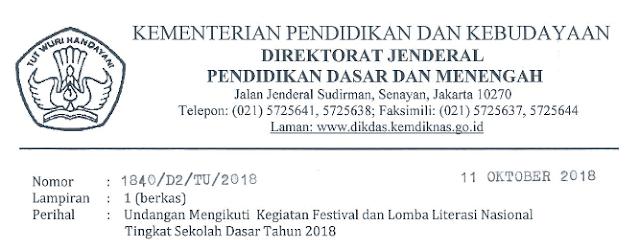 Pengumuman Finalis Festival Lomba Literasi Nasional Siswa SD tahun 2018