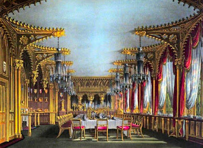 Gothic Dining Room, Carlton House, from The History of the Royal Residences by WH Pyne (1819)
