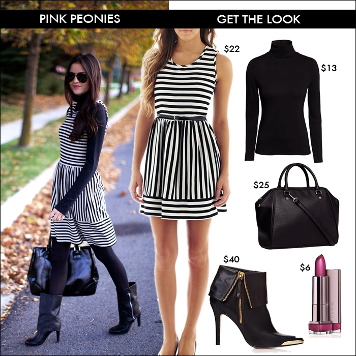 budget look, look for less, what to wear fall, striped dress, great deals, pink peonies, forever 21, jcpenney