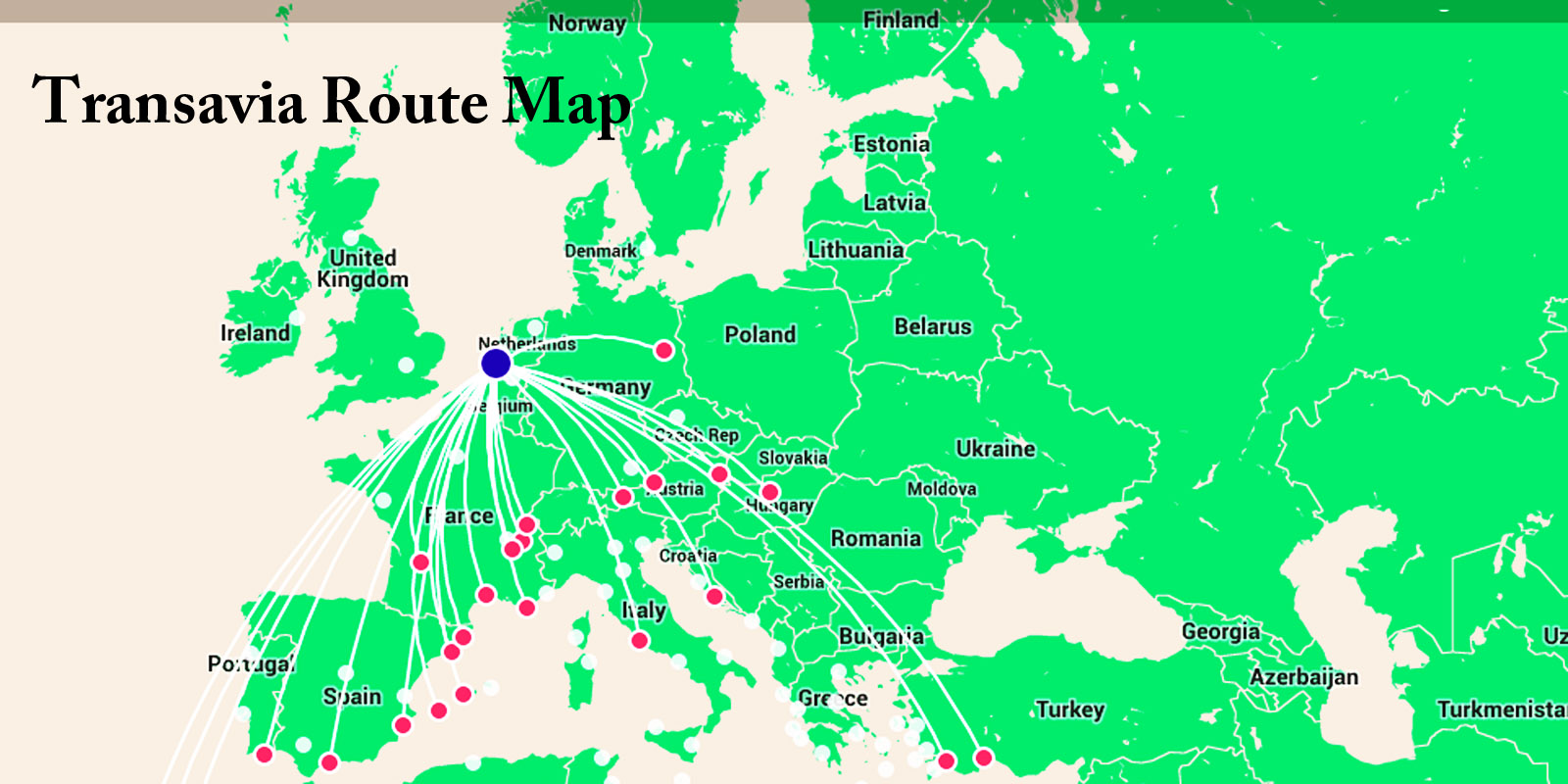 Transavia S European Route Map Click To Enlarge