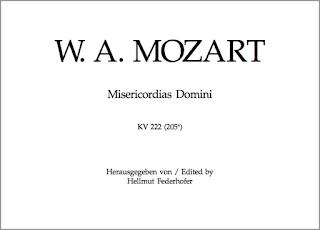 """""""Misericordias Domini"""" K. 222 (205a) de Mozart, en la edición de Bärenreiter-Verlag, preparada por Hellmut Federhofer."""