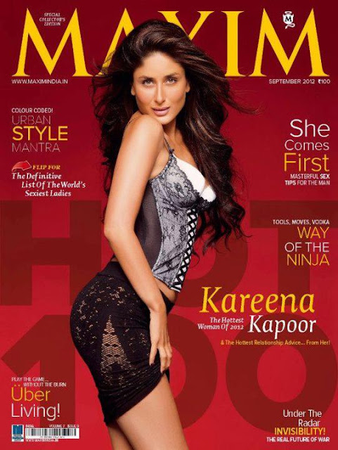 Kareena Kapoor as Maxim's cover girl this month-Sept 2012