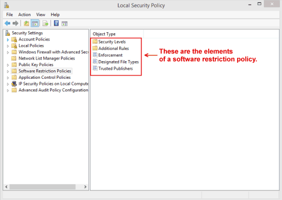 The Microsoft Windows Local Security Policy Editor Window showing Software Restriction Policies