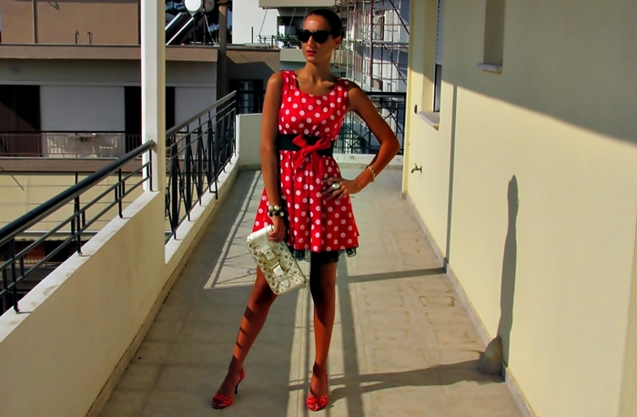 dress and shoes with polka dots, red heels and red mini dress outfits