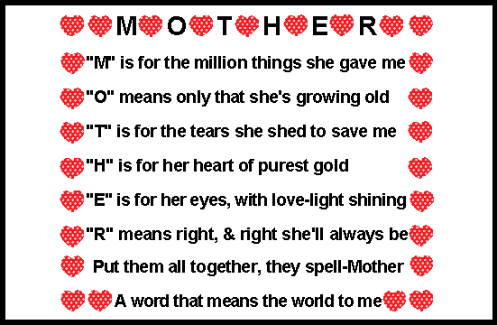 Poems quotes finder for Things to do on mother s day at home