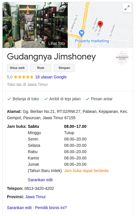 Google Business Gudangnya Jimshoney