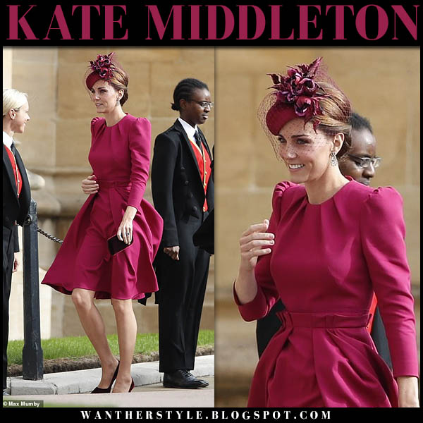 Kate Middleton in pink puff sleeve dress alexander mcqueen royal wedding guests style october 12