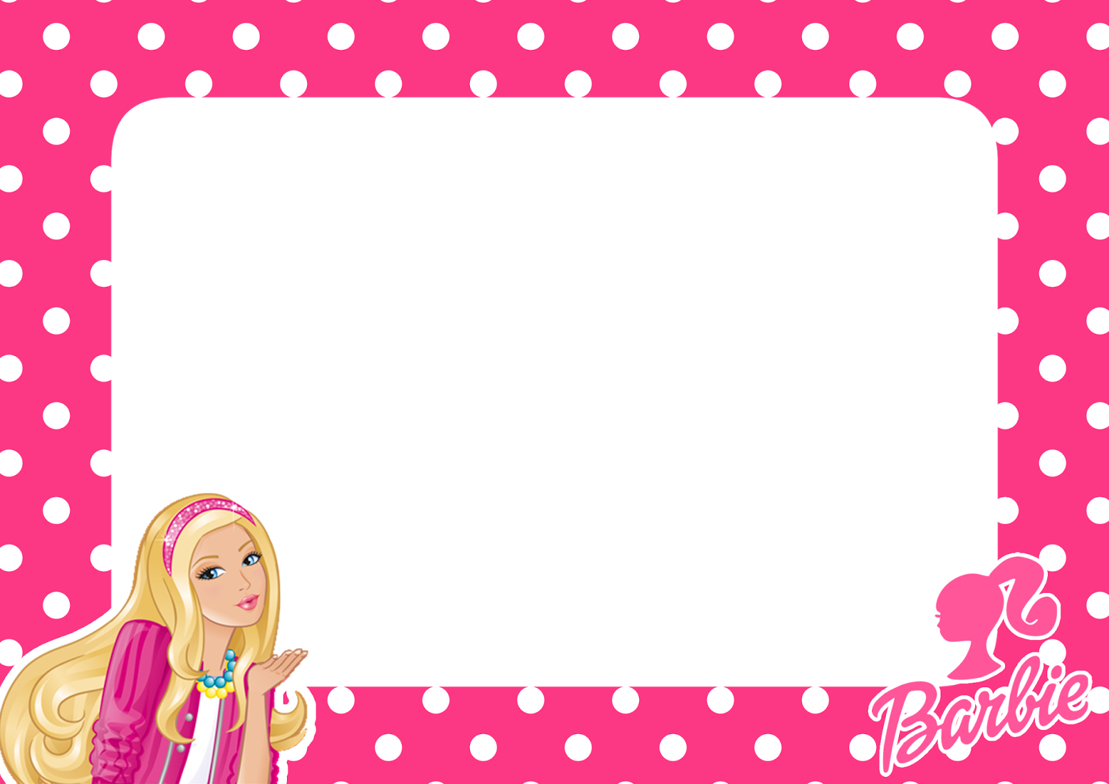 Barbie pink dots png frame printable png frames cartoon download now jeuxipadfo Choice Image