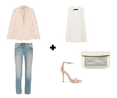 Пастельный розовый жакет с джинсами и кремовым топом