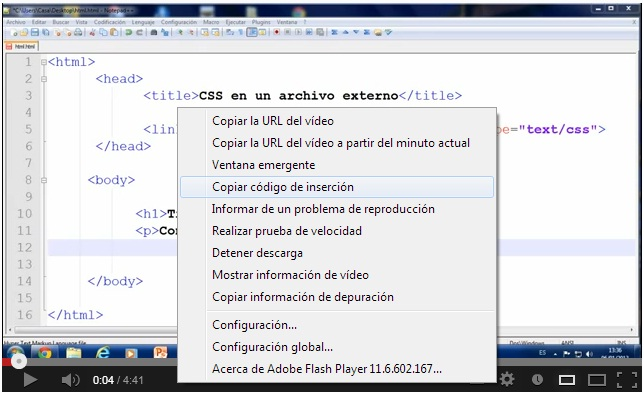 Código de insercion videos de Youtube