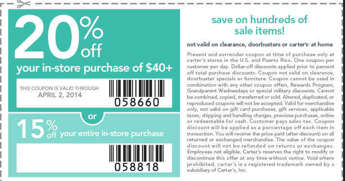 Carters Printable Coupons May 2018