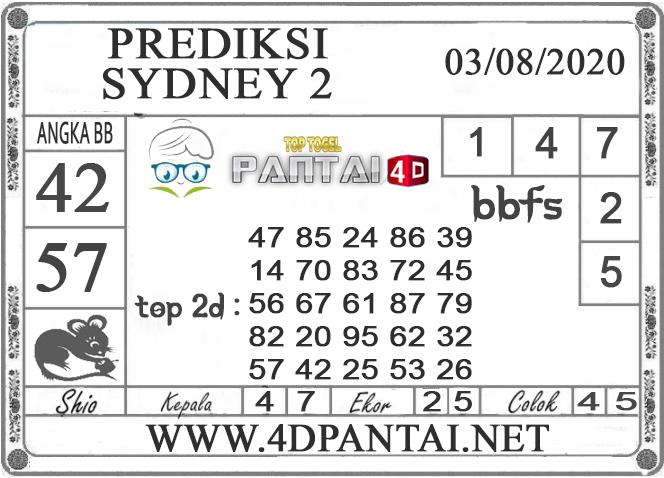 PREDIKSI TOGEL SYDNEY 2 PANTAI4D 03 AGUSTUS 2020