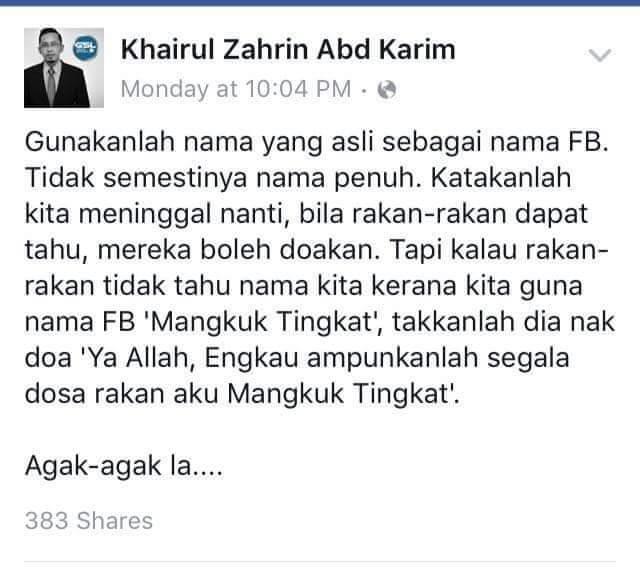 Nama Sebenar vs Nama Samaran di Facebook!