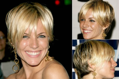 Sienna Miller short haircut with bangs