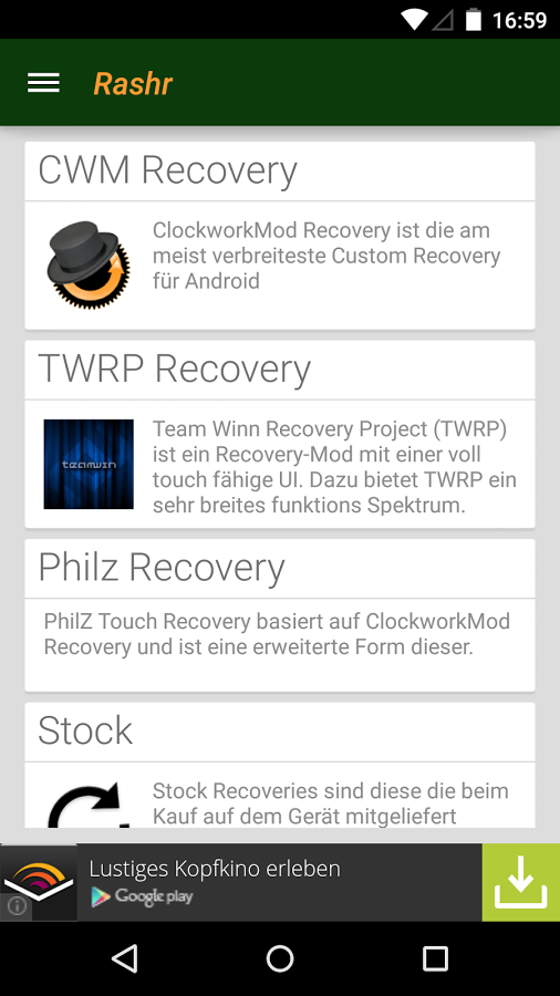 RashR 2.3 Now Supports More Phones -you can now flash recovery on more phones.