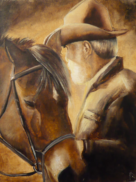 oil painting of an old cowboy and his horse