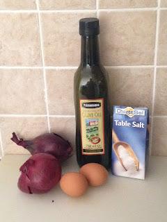 Frittata di cipolla rossa, ingredientes