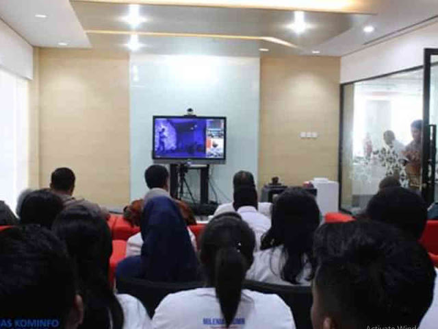 Rudi Laku dan Pemkot Sorong Hadiri Peresmian Palapa Ring via Video Conference