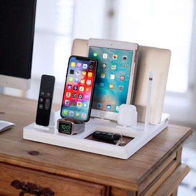 charging station with places for MacBook, iPad, iPhone, AirPod case, Apple Watch, Apple Pencil, and Apple TV remote