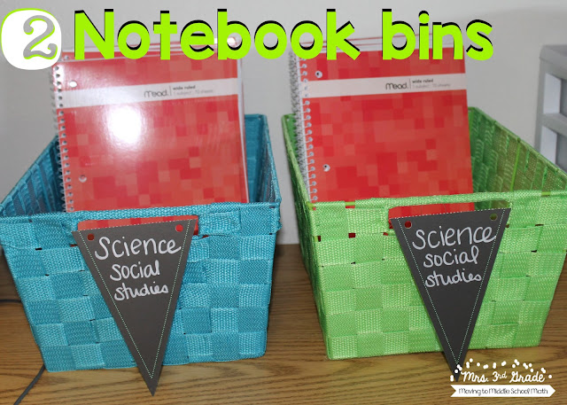 Having notebook bins is a great way to have students know where to turn in their notebooks and keep them organized.  This will also help you to know where all the notebooks are at all times.