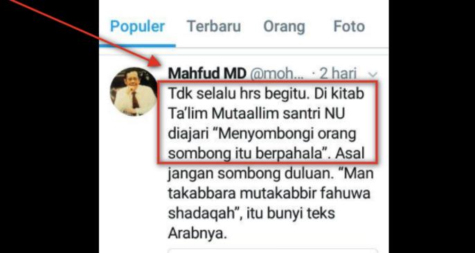 Aduh... Memalukan !! Pak Mahfudz MD, Terlanjur Sombong Eh Salah kutip dan tak bisa bahasa arab