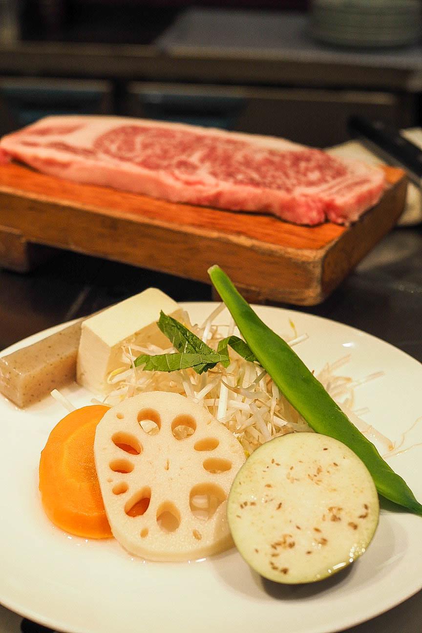 Kobe beef steak with vegetables