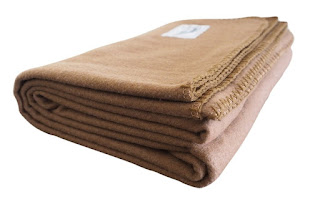 Rugged Tan Wool Camping Blanket