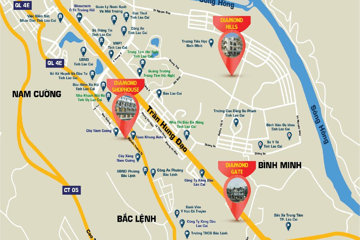 Vị trí dự án Diamond Shophouse Lào Cai