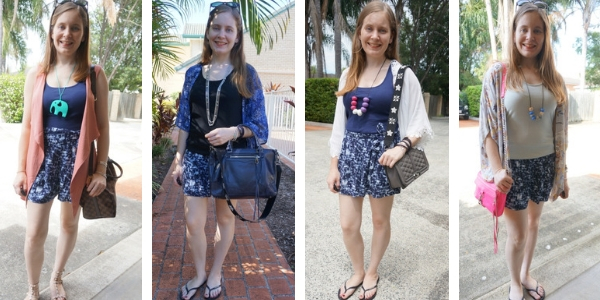 4 ways to layer printed shorts outfits in summer: vest and kimonos | awayfromblue