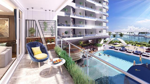 Phối cảnh ban công view hồ bơi dự án căn hộ laluna nha trang