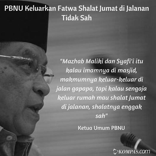 Terkait Shalat Jumat Di Jalanan Pada Aksi Bela Islam 212, Begini Pendapat Gus Sholah