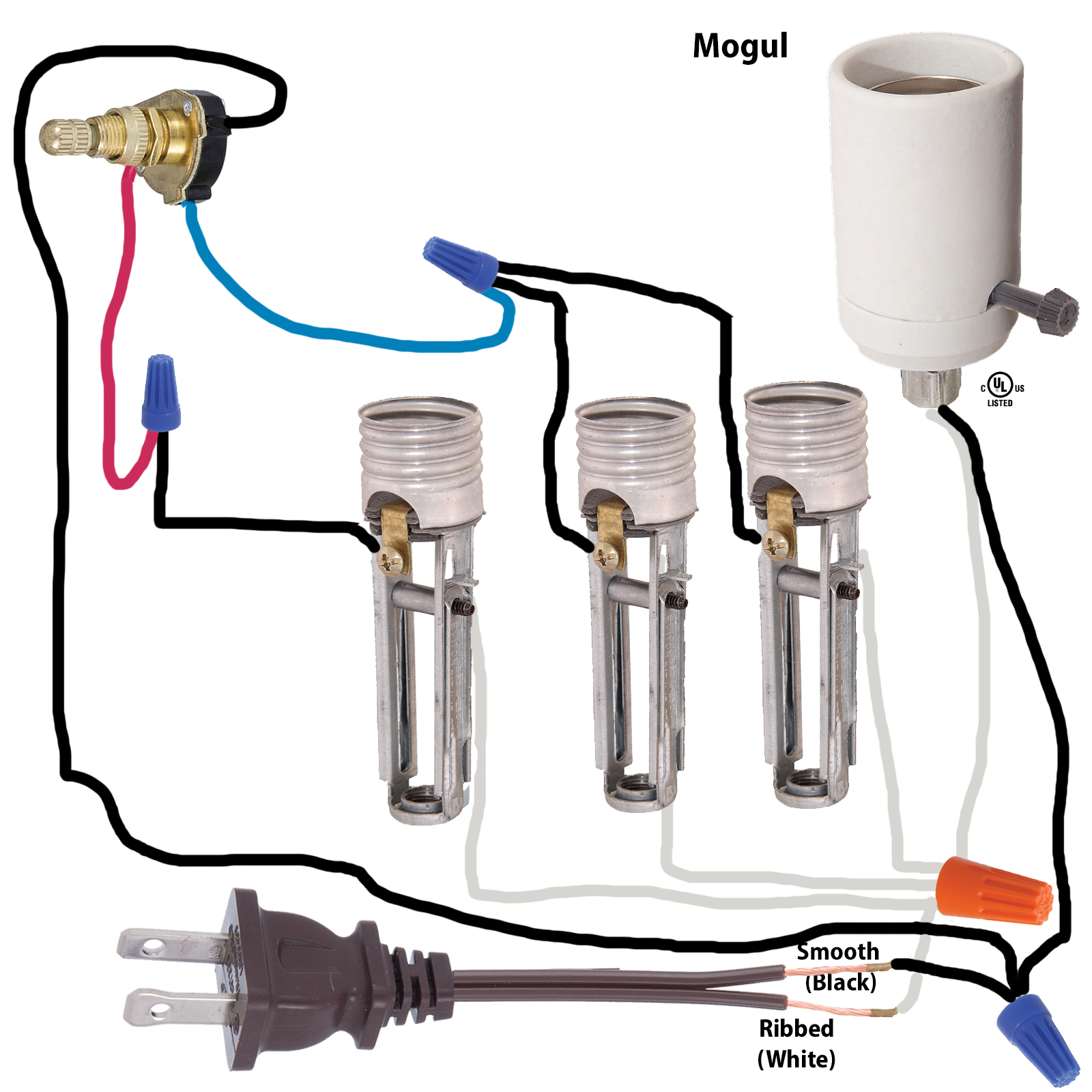 Bulb Wiring Diagram : Lamp parts and repair doctor floor with mogul