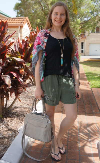 pink floral scarf knotted and worn as kimono with olive shorts and black tank summer style | awayfromblue