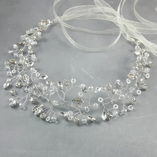 Wianek ślubny -  kryształowa gałązka.