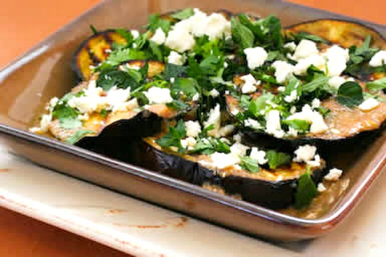 Grilled Eggplant with Garlic-Cumin Vinaigrette, Feta, and Two Herbs found on KalynsKitchen.com