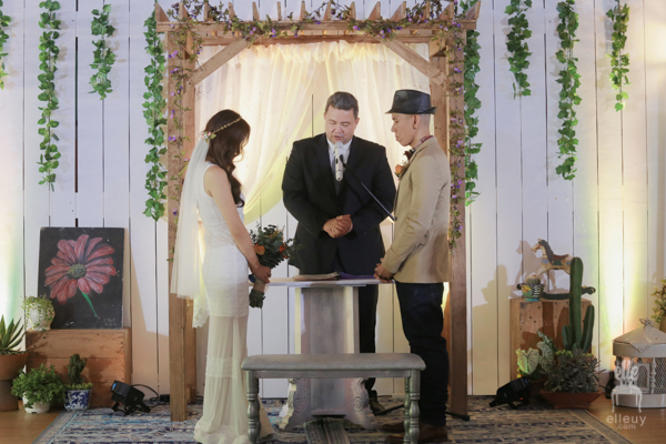 rustic ceremony backdrop, wedding ceremony indoor