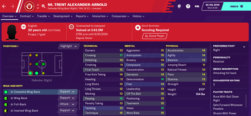 Trent Alexander Arnold: Starting Attributes in FM2020