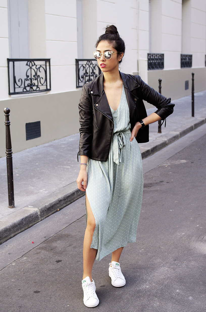 Elizabeth l Mint green summer dress outfit blog mode l H&M Adidas Quay Australia l THEDEETSONE l http://thedeetsone.blogspot.fr
