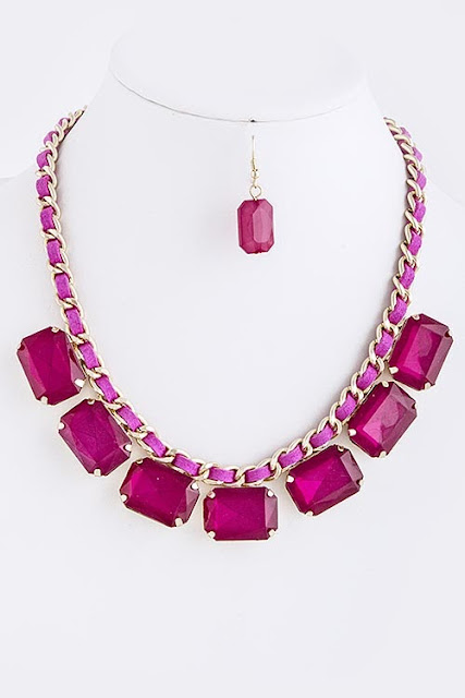 fuchsia necklace, summer jewelry pink