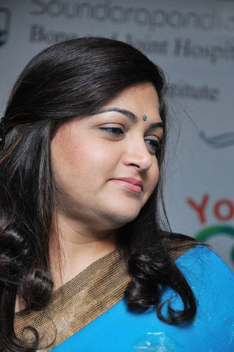 kushboo sundar in saree kushboo blue saree latest photos