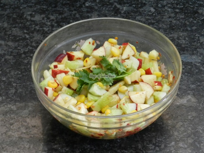 Quick Corn & Apple Salad - Fruit & Greens Salad - Magic of Indian Rasoi -Priya R