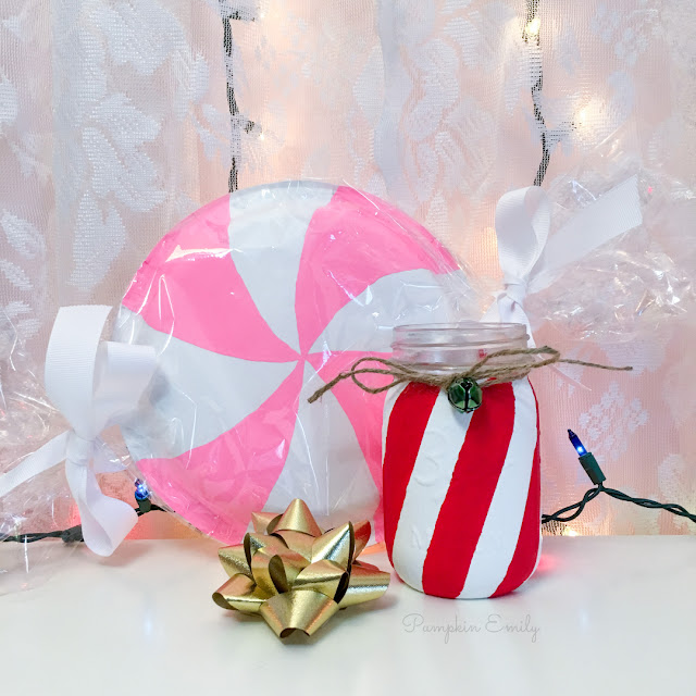 DIY Peppermint Candy with Paper Plates and a DIY Cane Cane Mason Jar
